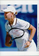 Tennis player Anke Huber plays in Australia