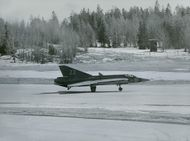 Vidw of Swedish fighter aircraft Saab 35 Draken