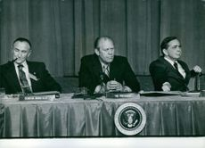 U.S Politicians, Gerald R. Ford, Mike Mansfield and Carl Albert, 1975.