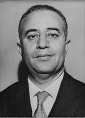 Portrait of Libyan politician, diplomat and writer Wahbi al-Bouri who was the foreign minister of Libya from 1957 to 1958 and later from 1965 to 1966