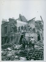 View of a wrecked house after an air raid on a town in the North of England.