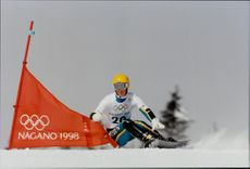 Swedish snowboard driver Stephan Copp in Grand Slalom. He finished in 18th place.
