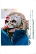 """Michelle Pfeiffer with classical theater mask during the recording of the film """"The Story About Us"""""""
