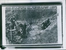 A mortar platoon now holding the line prepare their positions in Netherlands during World War II.