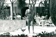 Actor Jack Nicholson in swimsuits at a hotel in Cannes