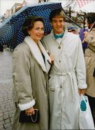 Anders Järryd with his wife at Stefan Edberg and Annette Olsen's wedding party in Teleborg Castle after the wedding in Växjö Cathedral