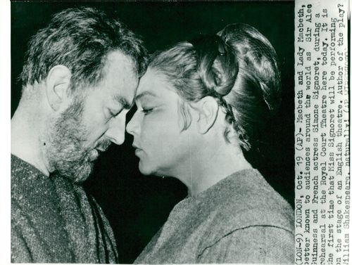 Alec Guinness and Simone Signoret practice a scene from Macbeth at the Royal Court Theater in Chelsea