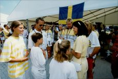 OS Barcelona. The royal family visits the canoeists at the awards ceremony