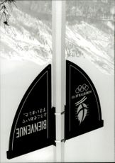 Welcome sign at the 1992 Winter Olympics in Albertville 1992