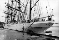 "The Soviet school ship ""Sedov"" arrives at Stadsgårdskaya with 164 cadets and 70 crewmen"
