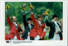 Australia took the team gold in the field competition. The team consisted of Andrew Hoy, Wendy Schaeffer, Philip Dutton and Gillian Rolton.
