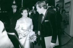 Princess Margaret, Countess of Snowdon. Arriving at an event and talking to a man. 1968.