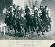 The field in the first curve at Svenska derbyt. Winning Viscount with Joe Mercer in the saddle is seen as the fourth row from the left
