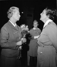 Princess Sibylla greeted by Corps Commander Birgit Magnusson in Stockholm arméflottakårs anniversary celebration held at the Blue Hall