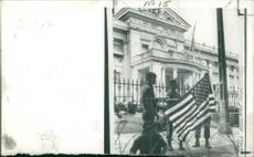 American flag at main entrance of Independence Palace during Vietnam War