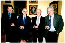 Desmond Lynam with Alan Hansen, Peter O'Sullevan and Brian Moore.