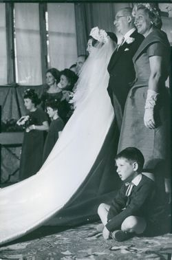 Wedding march of the bride with parents. 1960