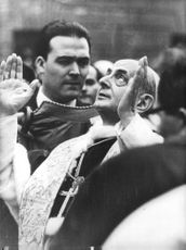 Pope Paul VI looking on sky.