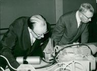 Research reactor R2 in Studsvik. King Gustaf Adolf and Prime Minister Erlander visit A.B. Atomic Energy Facility