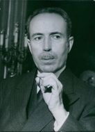 1952 Portrait of a French conservative politician Antoine Pinay, smoking cigarette.