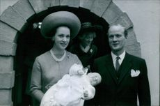 Princess Benedikte and Prince Richard during the baptism of their son Prince Gustav, 1969.