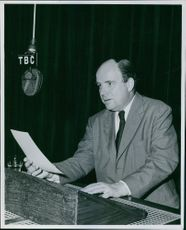 Iain McLean talking in a studio. Photo taken on September 14, 1961.