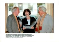 Posy Simmonds with Laurie Lee and Keith Waterhouse.