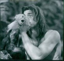 Brendan Fraser in the film George of the Jungle, 1997.