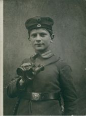 Portrait of a 16 year-old German Guardsman in France.