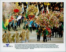 Local inhabitants of Nagano in traditional costumes at the closing ceremony of the Winter Olympics in 1998