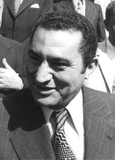 Close up of Hosni Mubarak.