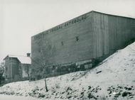The wooden goods company's warehouse skate at the canal in Södertälje