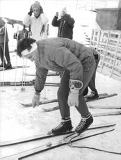 Aga Khan IV on the skiing fields of Cervinia.