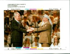 Yasser Arafat with shimon peres.