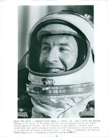 James A. Lovell tries his space suits for the Gemini-12 mission