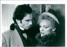 "1993 A scene of Sir Daniel Michael Blake Day-Lewis  and Michelle Marie Pfeiffer from the American film ""The Age of Innocence""."