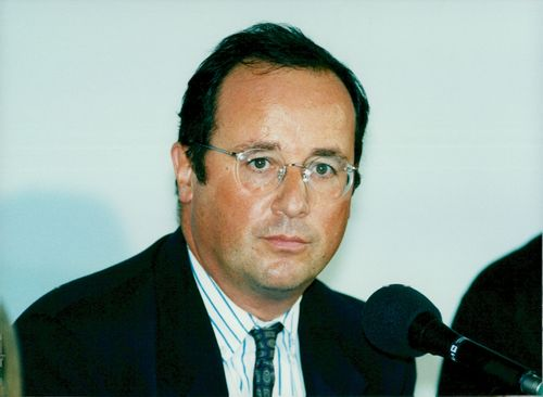 Portrait of France's former president of the Socialist Party and President François Hollande.