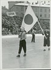 Japanese fan carrier at the opening ceremony of the 1952 Olympic Winter Games