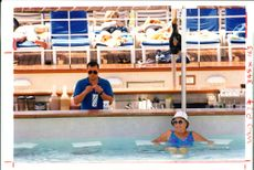 Crown Princess ship:leaning on the sar stools.