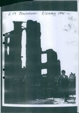Bomb damages in Nurnberg during the cold war in Germany. 1945