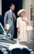 Prince Charles together with the Queen Mother at a wedding