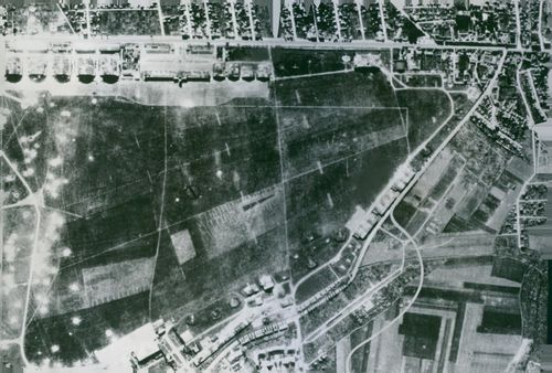 An aerial view from US Flying Fortresses during their attack on a German-held airfield in France.