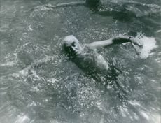 A photo of Nubar Gulbenkian swimming, 1965.