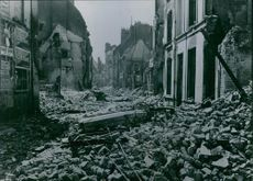 View of totally damaged place during wartime.