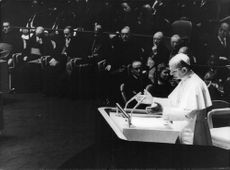 Pope Paul VI addressing people.