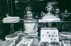 Queen Sofia at the jewelry shop, 1969.