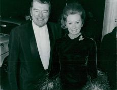 Jack Hawkins with his wife on the banquet at the Savoy Hotel