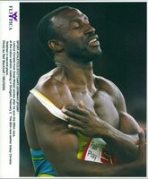 Linford Christie after the victory in 200 meters in Stuttgart