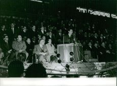 Ahmed Ben Bella delivering a speech in Algeria.  Taken - May 1963