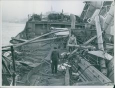 A wreckage on a ship. 1951